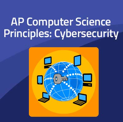 "Graphic promoting the Advanced Placement course ""AP Computer Science Principles: Cybersecurity"" with the logo that represents it (a key on a globe surrounded by various networked devices) on the website CodeHS.com"