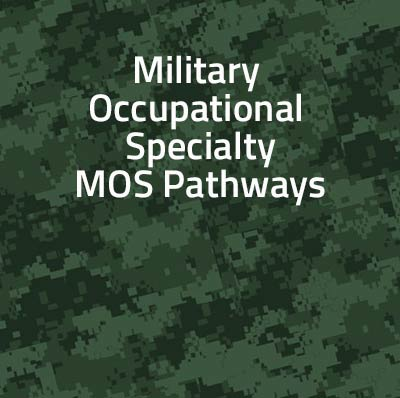 green camoflage background with the text, military occupational specialty MOS Pathways